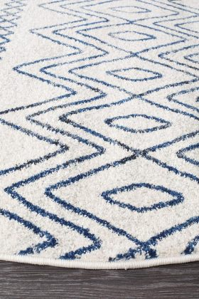 Oasis Nadia White Blue Rustic Tribal Round Rug