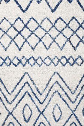 Oasis Nadia White Blue Rustic Tribal Rug