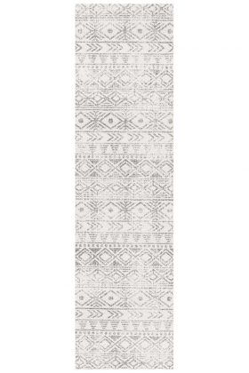 Oasis Ismail White Grey Rustic Rug
