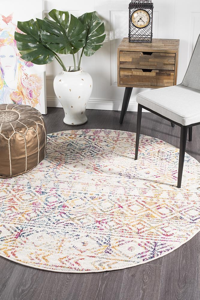 Oasis Ismail Multi Grey Rustic Round Rug