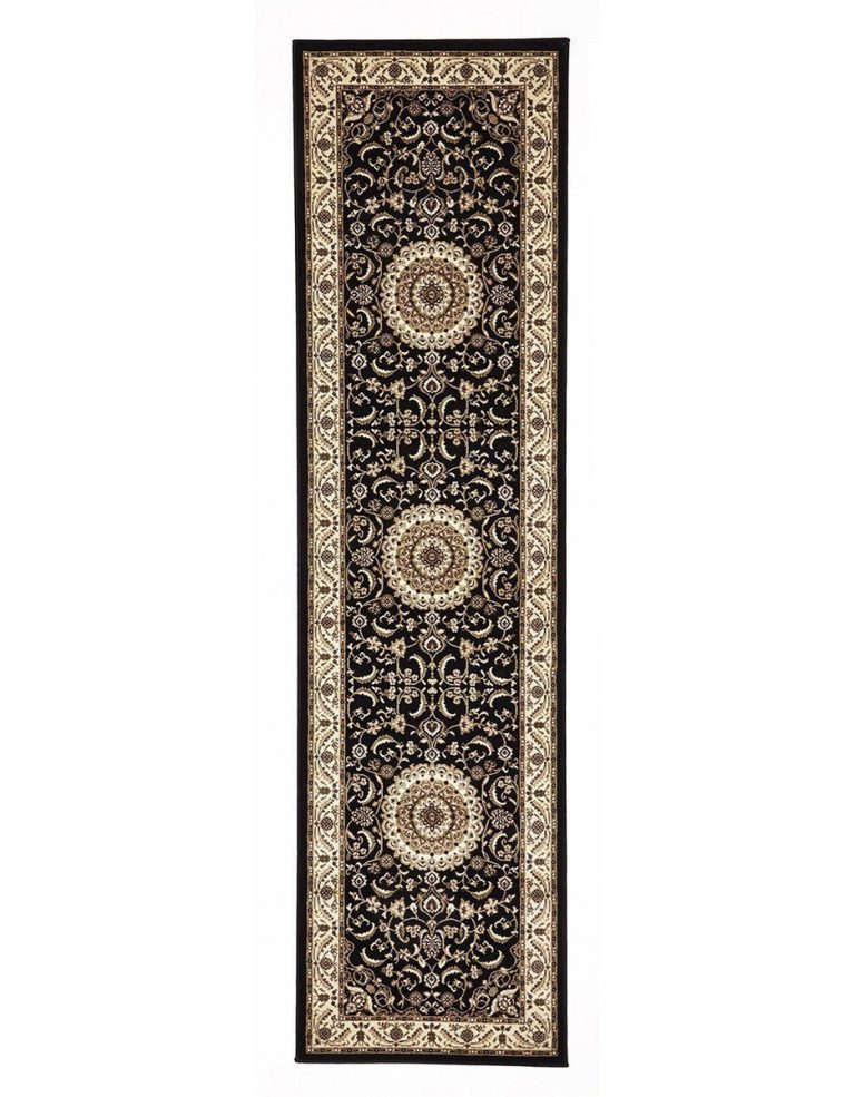 Sydney Collection Medallion Rug Black With Ivory Border