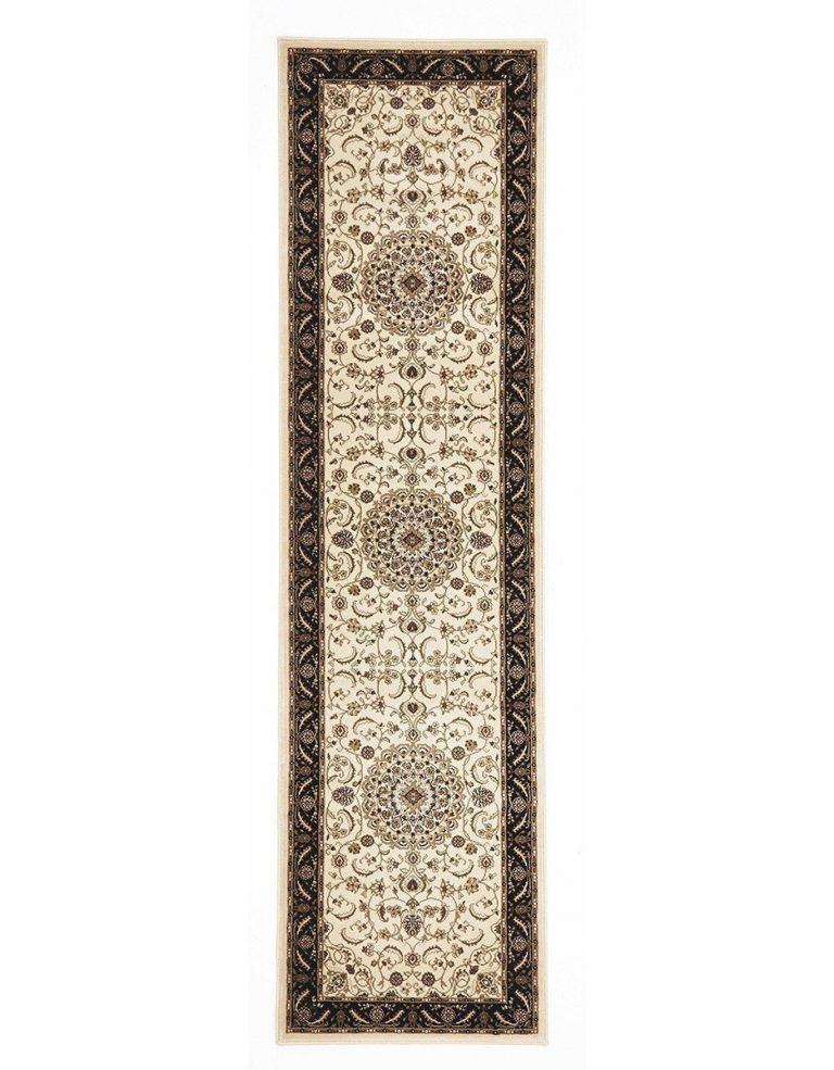 Sydney Collection Medallion Rug Ivory With Black Border