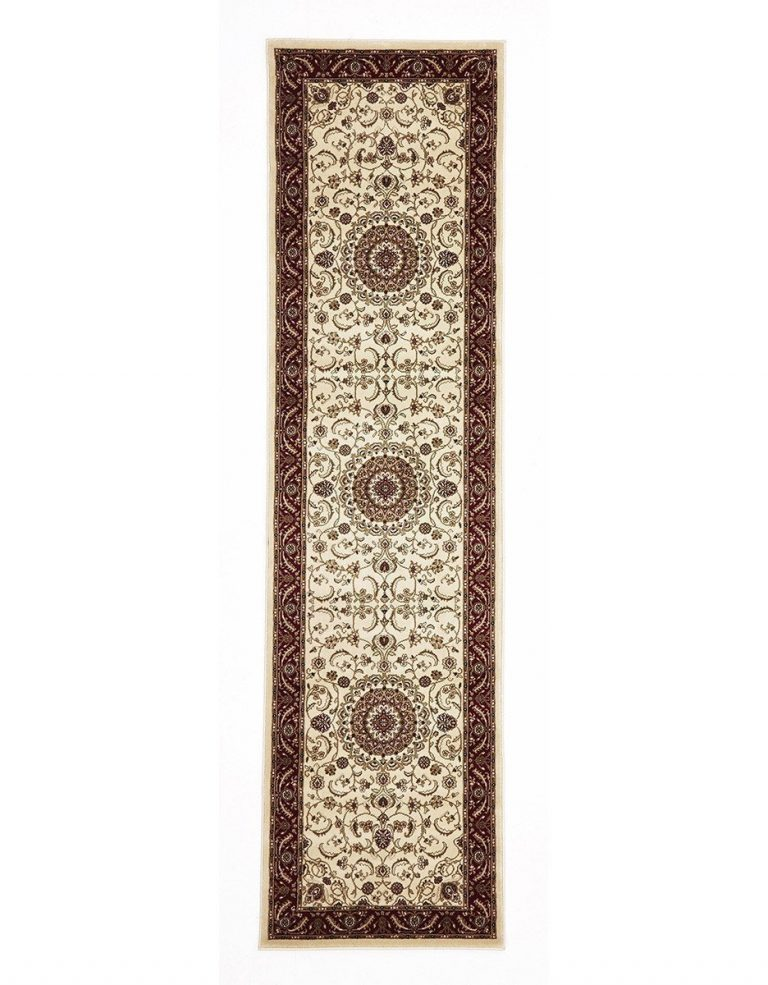 Sydney Collection Medallion Rug Ivory With Red Border