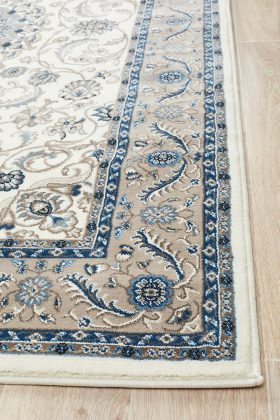 Sydney Collection Medallion Rug White With Beige Border