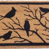 Birds Sitting On Tree Branches Natural Black Coir Door Mat