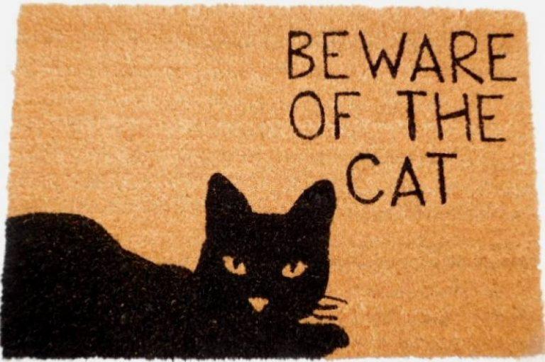 Black Kitty Cat Natural Black Coir Door Mat