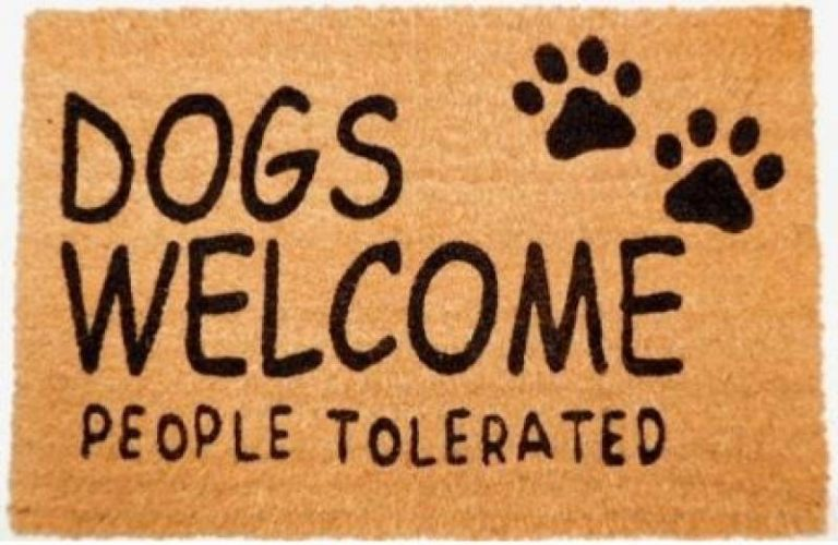 Funny Dogs Welcome People Tolerated Natural Black Coir Door Mat