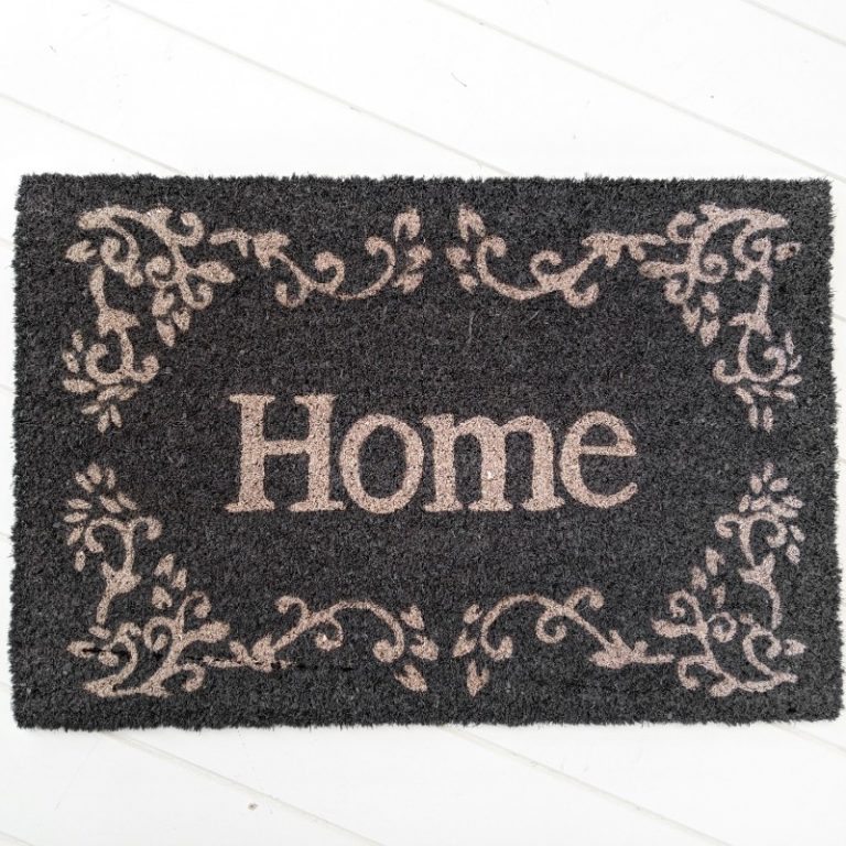 Grey And White French Home Coir DoorMat