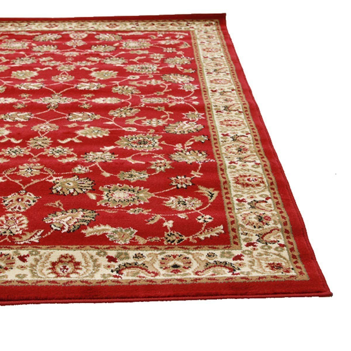 Istanbul Collection Traditional Floral Pattern Red Rug
