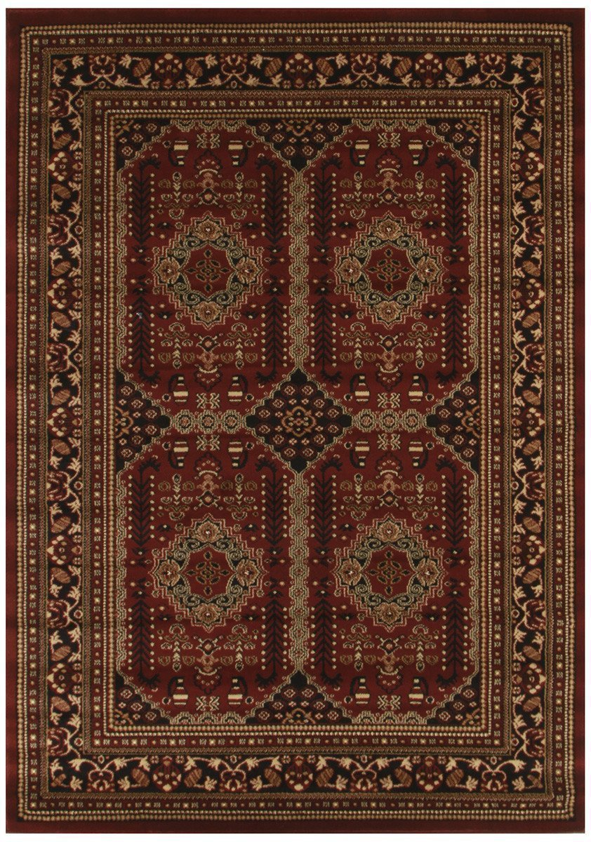 Istanbul Collection Traditional Afghan Design Burgundy Red Rug