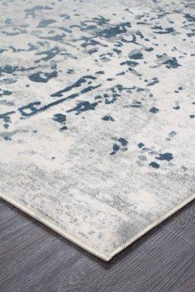 Kendra Casper Distressed Modern Rug Blue Grey White