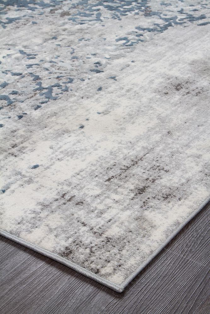 Kendra Farah Distressed Contemporary Rug White Blue Grey