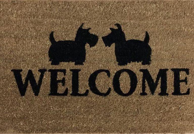 Welcome Dogs Natural Black Coir Door Mat