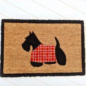 Black Dog In Red Coat Natural Coir Door Mat