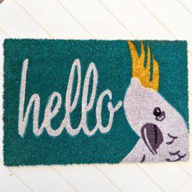 Colourful Hello Cockatoo Bird PVC Back Coir Door Mat