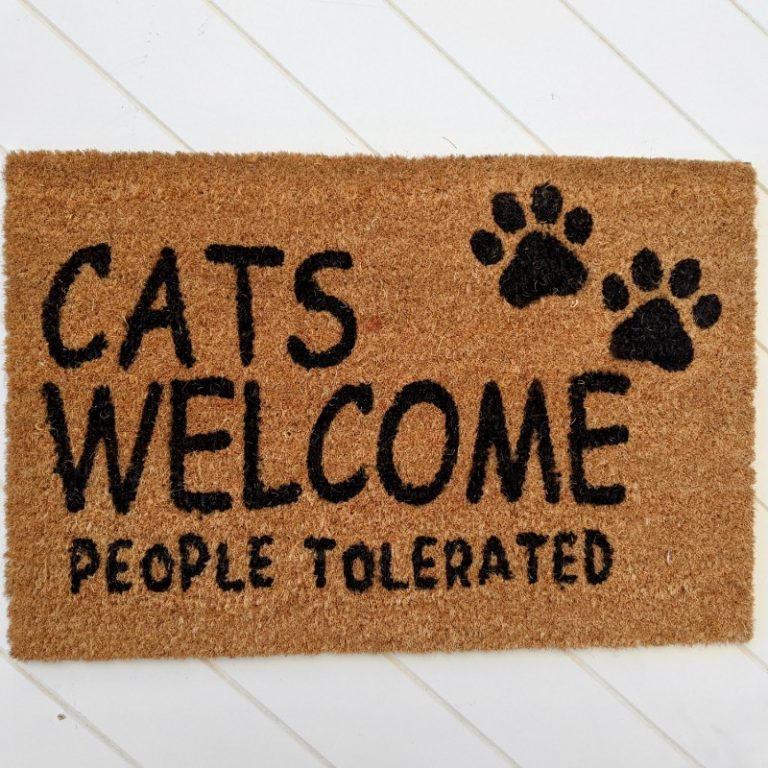 Funny Welcome Cats People Tolerated Natural Black Coir Door Mat