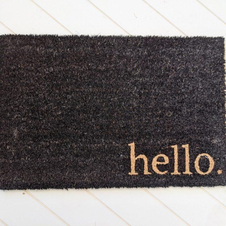 Hello Natural Black Coir Door Mat