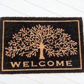 Welcome Tree Of Life Natural Black Coir Door Mat