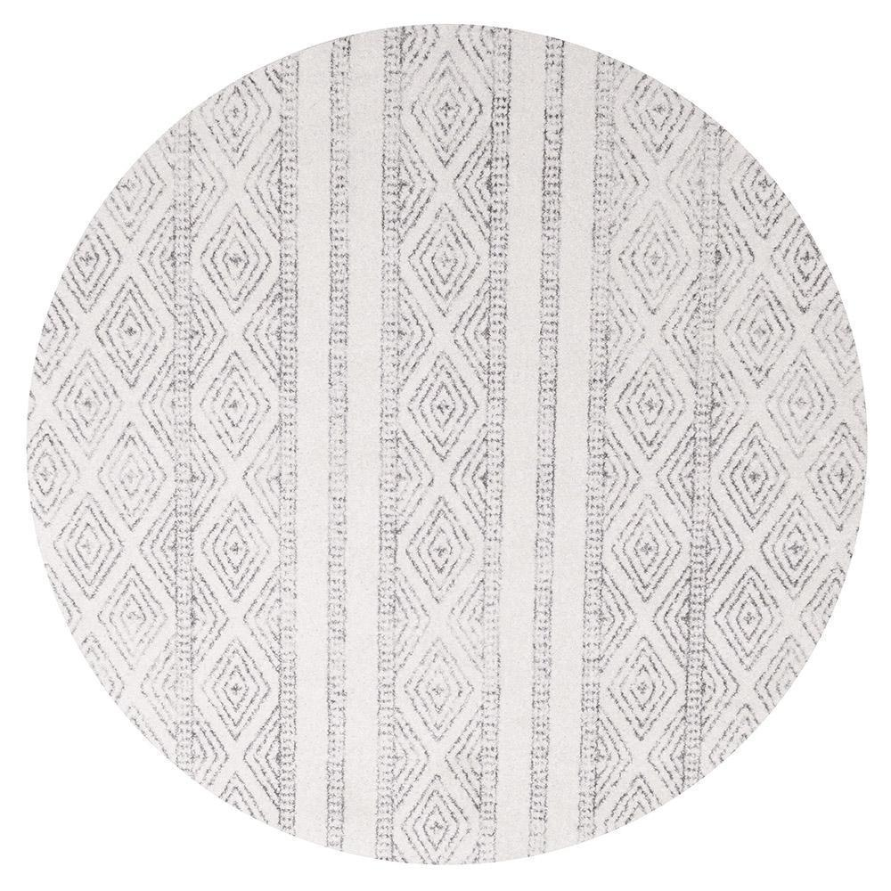 Oasis Salma White And Grey Tribal Round Rug