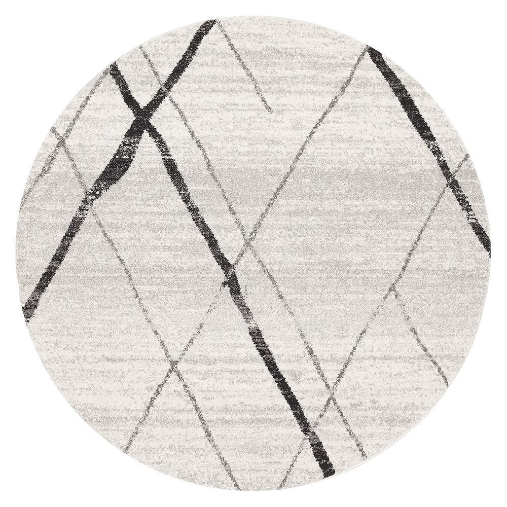 Oasis Noah White Grey Contemporary Round Rug