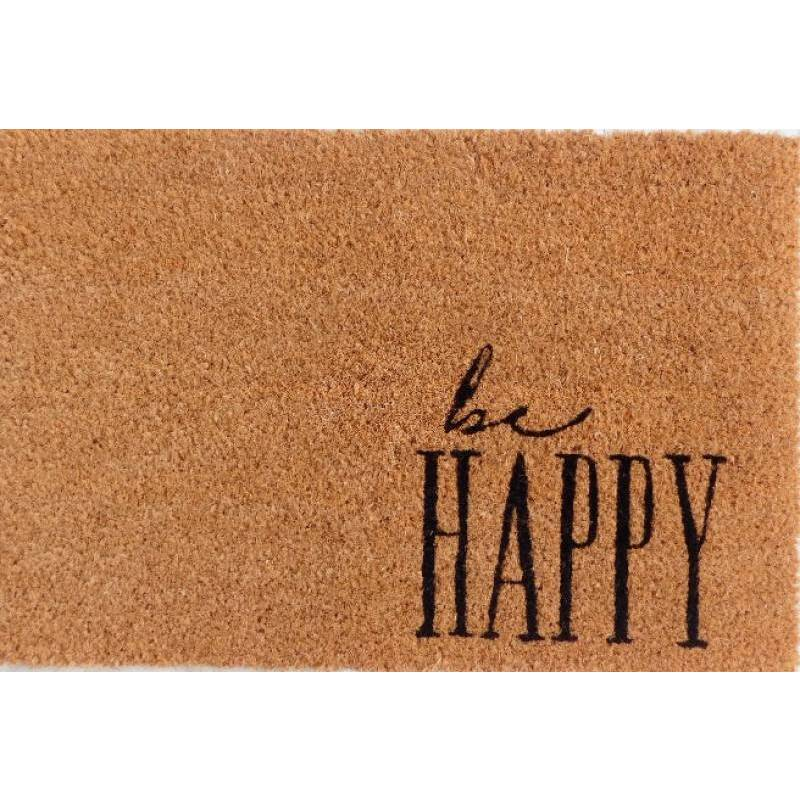 Be Happy Natural Black Coir Door Mat
