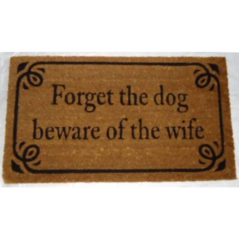 Beware of Wife Natural Black Coir Door Mat