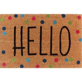 Hello Dots Natural Black Coir Door Mat