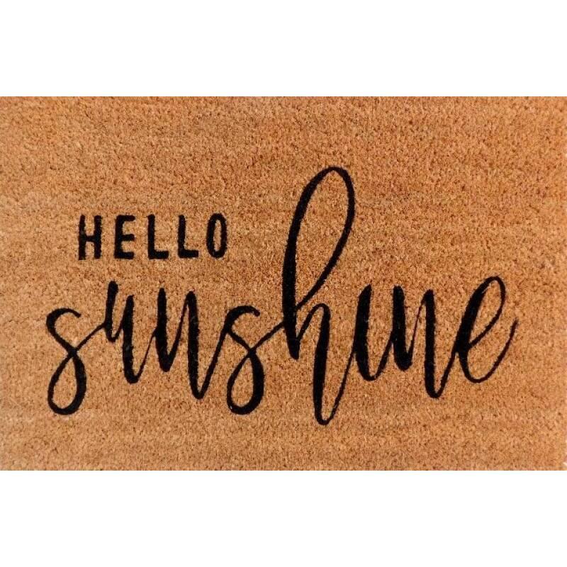 Hello Sunshine Natural Black Coir Door Mat