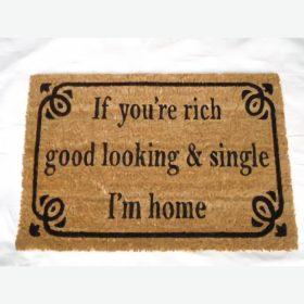 I Am Home Natural Black Coir Door Mat