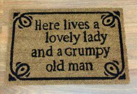 Lovely Lady Natural Black Coir Funny Door Mat