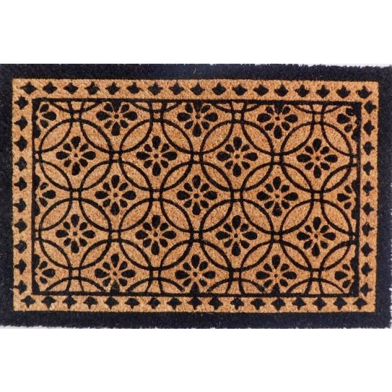 Moroccan Pattern Natural Black Coir Door Mat