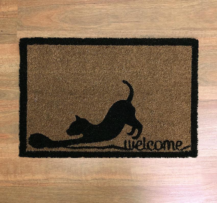 Natural Black Welcome Cat Coir Door Mat
