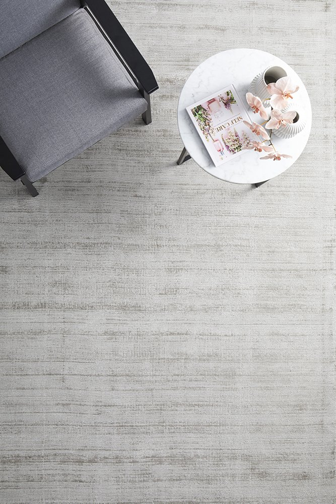 Silver Neutral Hand Loomed Contemporary Rug