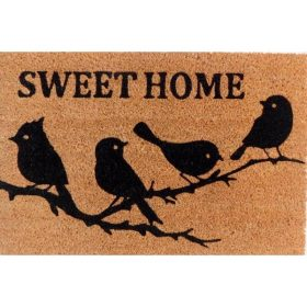 Sweet Home Birds Natural Black Coir Door Mat