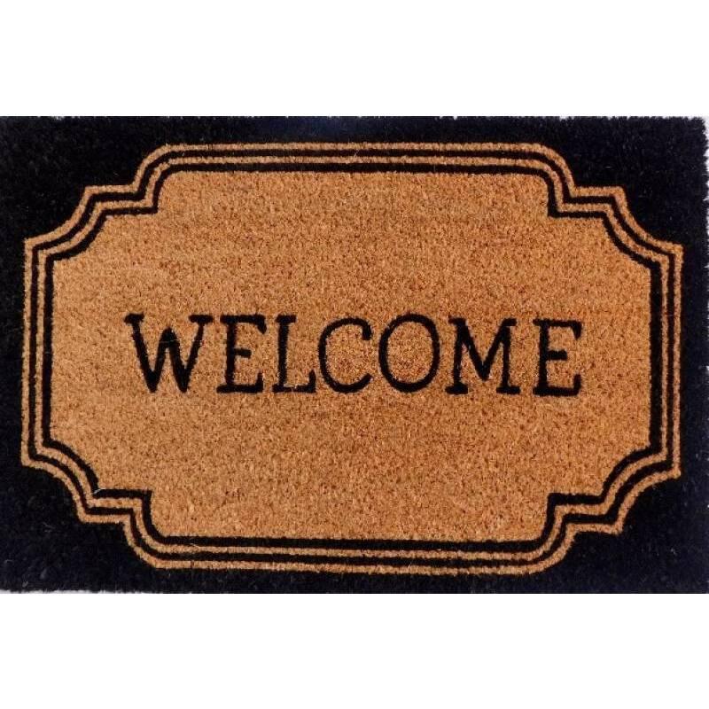 Welcome Natural Black Coir Door Mat