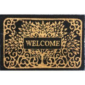 Welcome Tree Natural Black Coir Door Mat