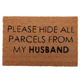 Hide Parcels Funny Natural Black Coir Door Mat