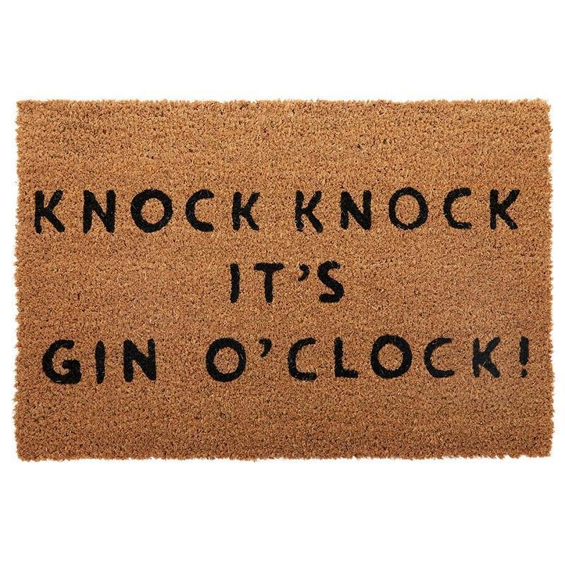 Knock Knock It's Gin O'Clock Natural Black Coir Door Mat