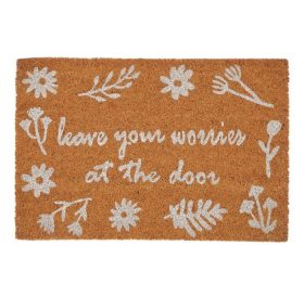 Leave Your Worries Natural Colourful Coir Door Mat