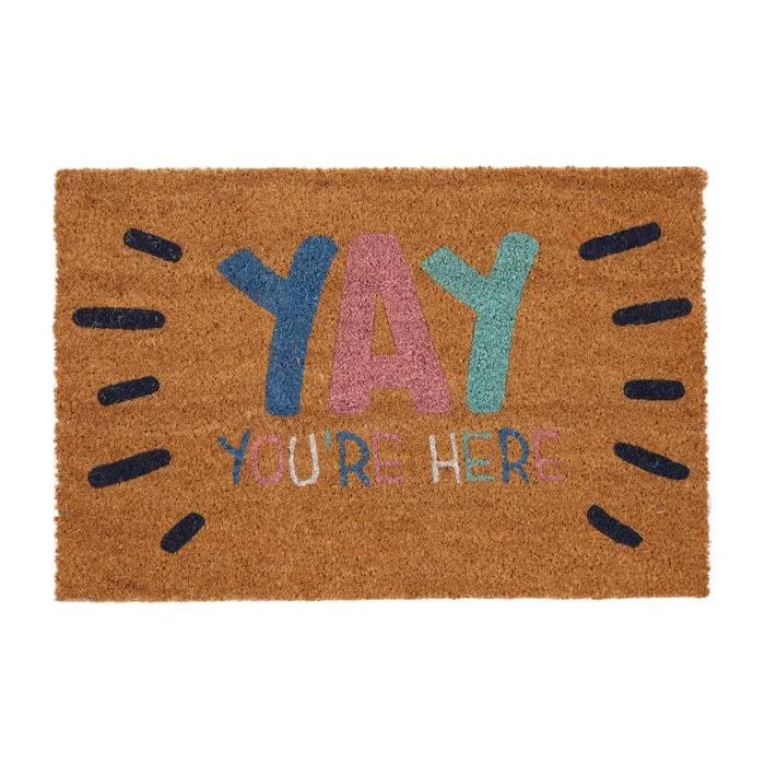 Yay Quote Natural Colourful Coir Door Mat