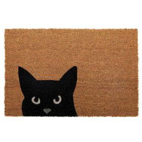 Curious Black Kitty Cat Coir Door Mat